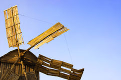 Yellow mill with blue sky, national Ukrainian colors Royalty Free Stock Image