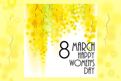 Yellow mimosa spring flowers vertical garland on white background. 8 march greeting card. Women`s day congratulations Stock Photo