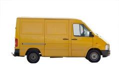 Yellow mini bus isolated. Yellow micro van gazelle isolated stock image