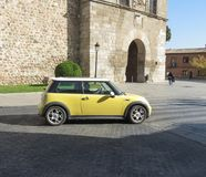 Yellow Mini Cooper in Toledo Stock Image