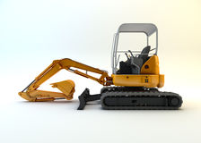 Yellow mini excavator isolated Royalty Free Stock Photography