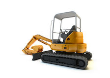 Yellow mini excavator isolated Stock Photography