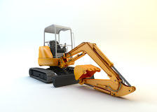 Yellow mini excavator isolated Stock Image