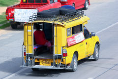 Yellow  mini truck taxi chiangmai Royalty Free Stock Image