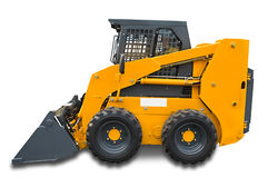 Yellow mini wheel excavator. Yellow wheel mini excavator isolated over white. With clipping path. Close up Stock Photo