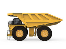 Yellow Mining Truck. On white background. 3D render Royalty Free Stock Photography