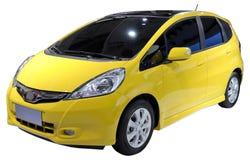 Yellow minivan isolated. Pretty minivan isolated on white Stock Photography