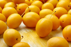 Yellow mirabelle plum fruits. Lying on painted textile background royalty free stock images
