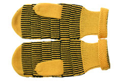 Yellow mittens Stock Images