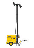Yellow mobile light tower. Stock Photo