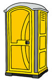 Yellow mobile toilet. Hand drawing of a yellow plastic mobile toilet vector illustration