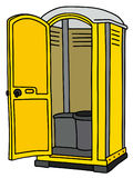 Yellow mobile toilet. Hand drawing of a yellow plastic opened mobile toilet royalty free illustration