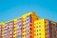 Yellow apartment building in Beijing, China. Yellow modern apartment building in Beijing, China stock images