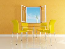Yellow  modern dining room Royalty Free Stock Photos