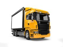 Yellow modern heavy transport truck. Isolated on white background Royalty Free Stock Photos