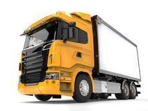 Yellow modern heavy transport truck - low angle shot Stock Photos
