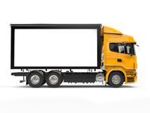 Yellow modern heavy transport truck - side view Stock Image