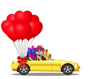 Yellow modern opened cartoon cabriolet car full of gift boxes. And bunch of red helium heart shaped balloons with festive bow isolated on white background Stock Image