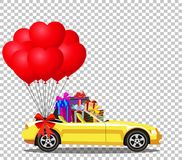 Yellow modern opened cartoon cabriolet car with gifts and balloo. Yellow modern opened cartoon cabriolet car full of gift boxes and bunch of red helium heart Royalty Free Stock Photography