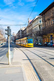 Yellow modern tram in Budapest, Hungary Royalty Free Stock Photography