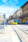 Yellow modern tram in Budapest, Hungary Stock Images