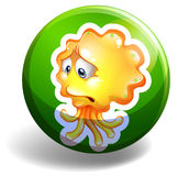Yellow monster on round badge Royalty Free Stock Image