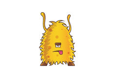Yellow Monster tired with tongue sticking out. Royalty Free Stock Photo