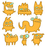 Yellow Monsters Emoticons Collection. Vector Illustration. Yellow Monsters Emoticons Set. Funny Cartoon Cool Characters. Vector Illustration Stock Image