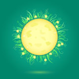 Yellow Moon and Floral Frame Royalty Free Stock Images
