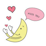 Yellow moon hand drawn  send pink heart with word miss you v Stock Image