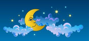 Yellow moon sleeping on clouds Stock Image