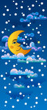 Yellow moon sleeping on clouds Royalty Free Stock Photos