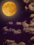 Yellow moon star clouds night sky Stock Photos