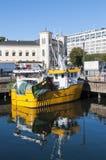 Yellow moored trawler Oslo Stock Photography