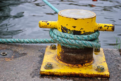 Yellow Mooring Anchor Bollard Royalty Free Stock Photo