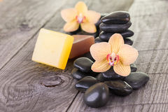 Yellow Moth orchids and black stones on wooden background Stock Photo