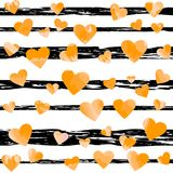 Yellow motley hearts on black stripes. vector illustration. Valentines background. wedding background Royalty Free Stock Image