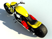 Yellow motor bike. A 3D illustration of a yellow motorcycle with a top view. It is casting a shadow on the ground Stock Image