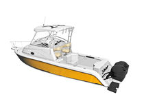 Yellow motor boat with cabin Royalty Free Stock Photography