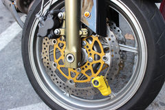 Yellow Motorbike Disc Brake Lock Royalty Free Stock Photography