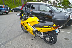Yellow motorcycle. At Fredriksten fortress in Halden, I discovered this yellow motorcycle which are a Honda royalty free stock photo