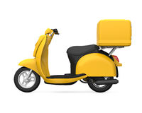 Yellow Motorcycle Delivery Box. Isolated on white background. 3D render vector illustration