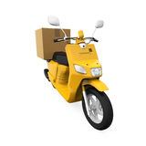 Yellow Motorcycle Delivery Box Royalty Free Stock Photo