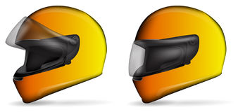 Yellow motorcycle helmet Stock Photo