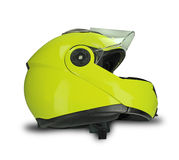 Yellow motorcycle helmet Royalty Free Stock Images