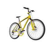 Yellow mountain bike isolated on white Stock Image