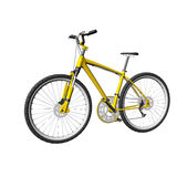 Yellow mountain bike isolated on white Royalty Free Stock Images