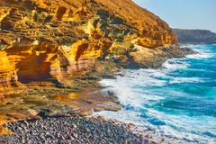 The Yellow Mountain in Costa del Silencio. The Yellow Mountain on the ocean shore in Costa del Silencio, Tenerife, The Canaries Royalty Free Stock Photography