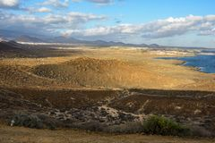 The Yellow Mountain on the ocean shore in Costa del Silencio, Tenerife. Royalty Free Stock Photos