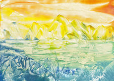 Yellow mountins. Encaustic art. Yellow mountins by water. Small islet with grass and waves in the foreground Royalty Free Stock Photography